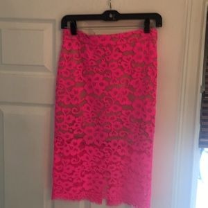 Trina Turk hot pink lace skirt
